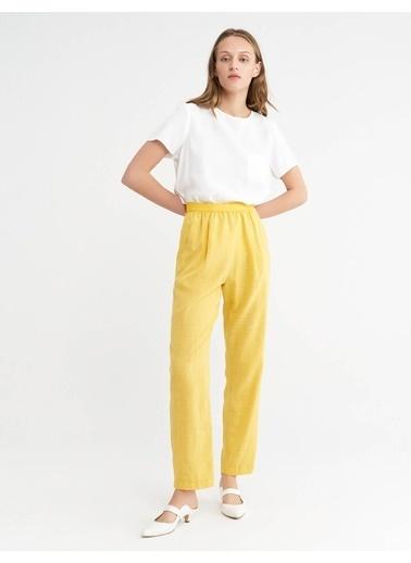 BGN Pamuk Keten Karısım Rahat Kesım Pantolon Sarı